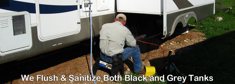 We Sanitze both Black Water and Grey Water Tanks